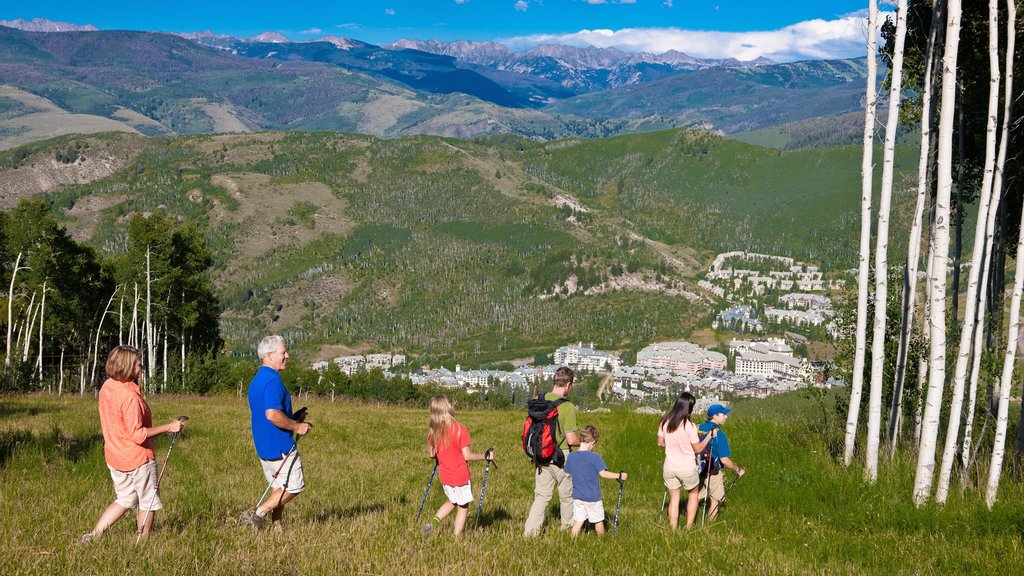 Beaver Creek which includes landscape views and hiking or walking as well as a family