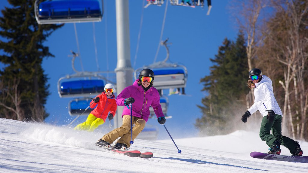 Mount Snow which includes snow, snow boarding and a gondola
