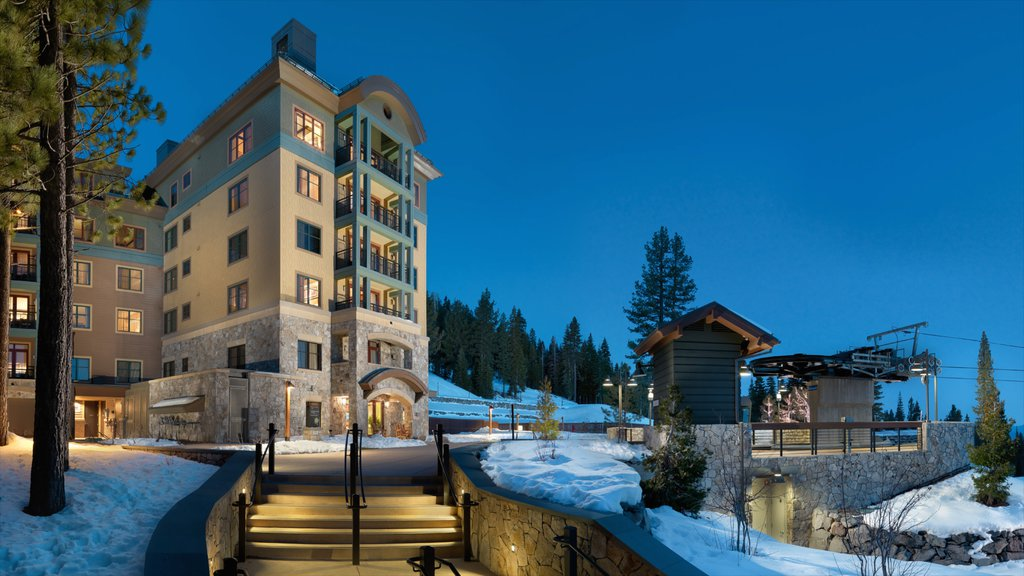 Northstar California Resort showing night scenes, a luxury hotel or resort and snow