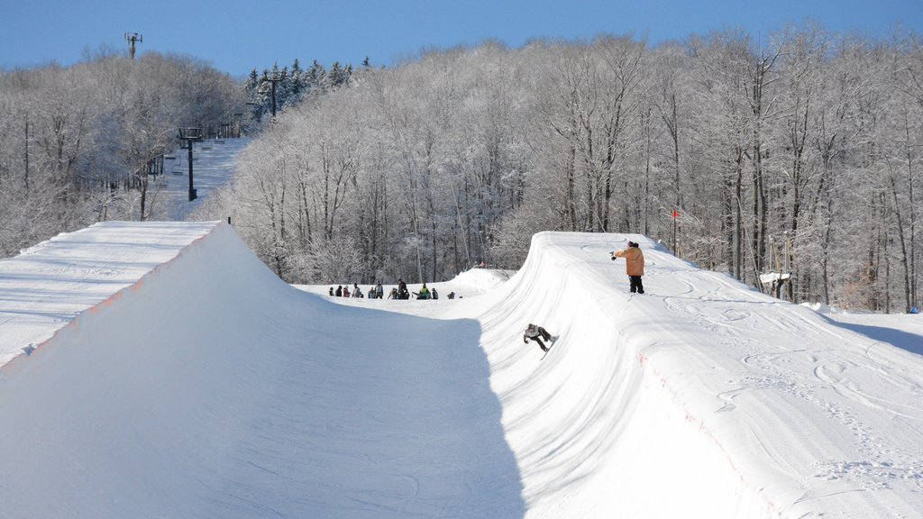 Okemo Valley Golf Club showing snow boarding and snow as well as a small group of people