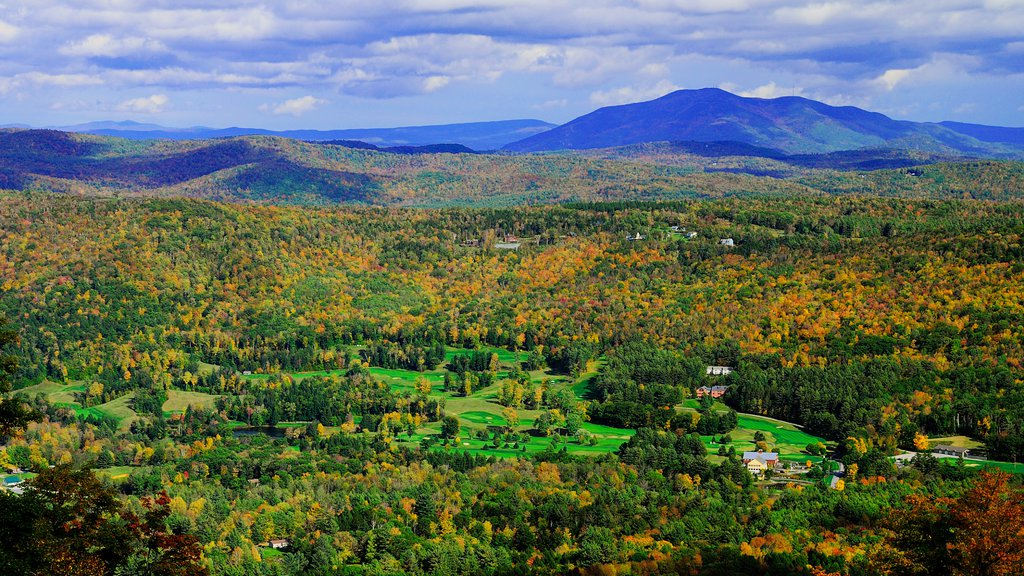 Okemo Valley Golf Club featuring fall colors, a luxury hotel or resort and landscape views