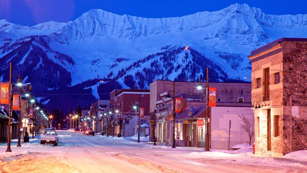 Fernie Alpine Resort which includes street scenes, mountains and night scenes