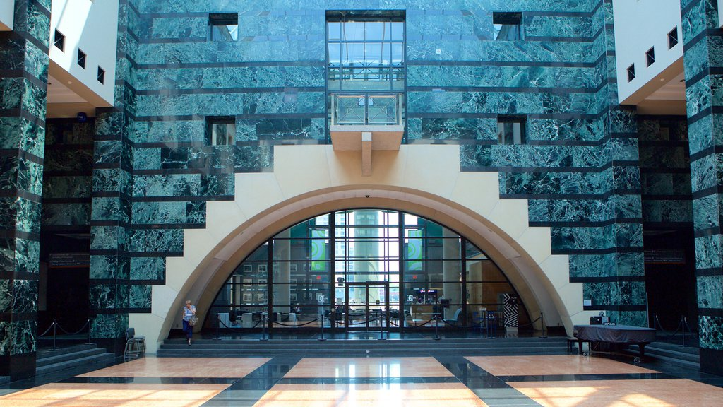 Mississauga Civic Centre showing modern architecture, an administrative buidling and interior views
