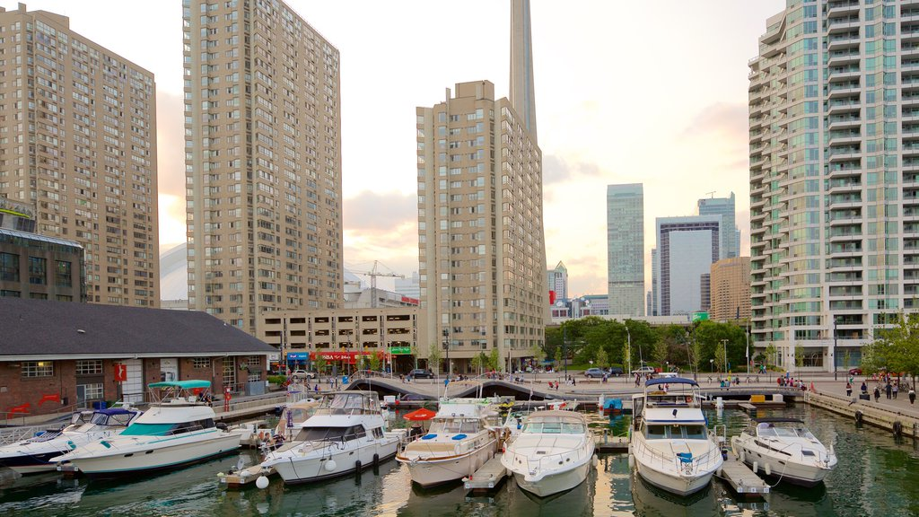 Harbourfront showing a bay or harbor, a marina and a city