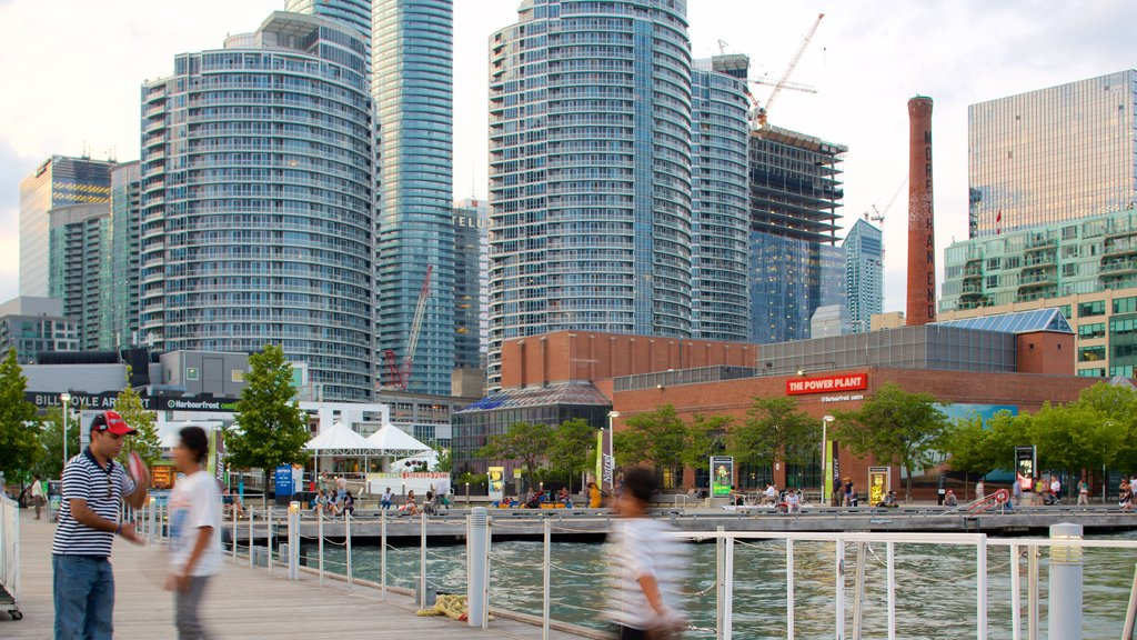 Harbourfront showing a city, a bay or harbor and a river or creek