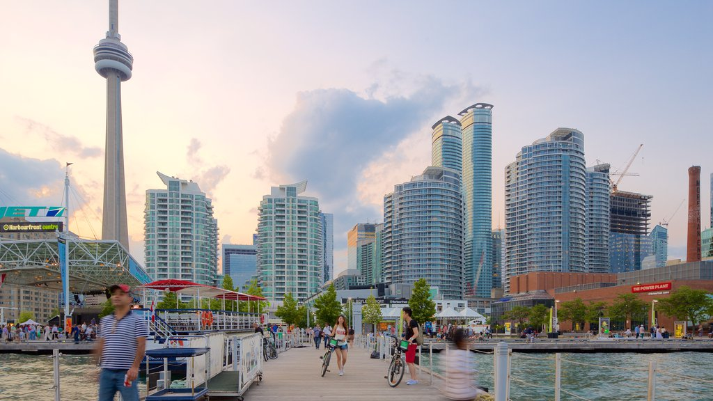 Harbourfront which includes a city, a high rise building and a bay or harbor