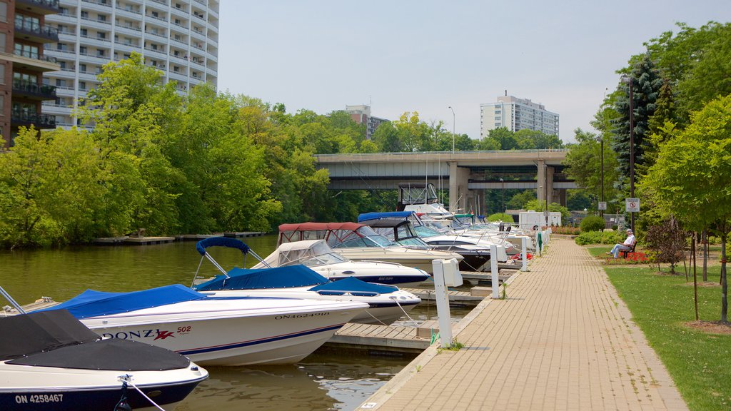 Oakville showing a marina, boating and a river or creek