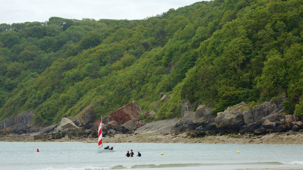 Playa de Bahía de Oxwich mostrando vistas generales de la costa y bosques