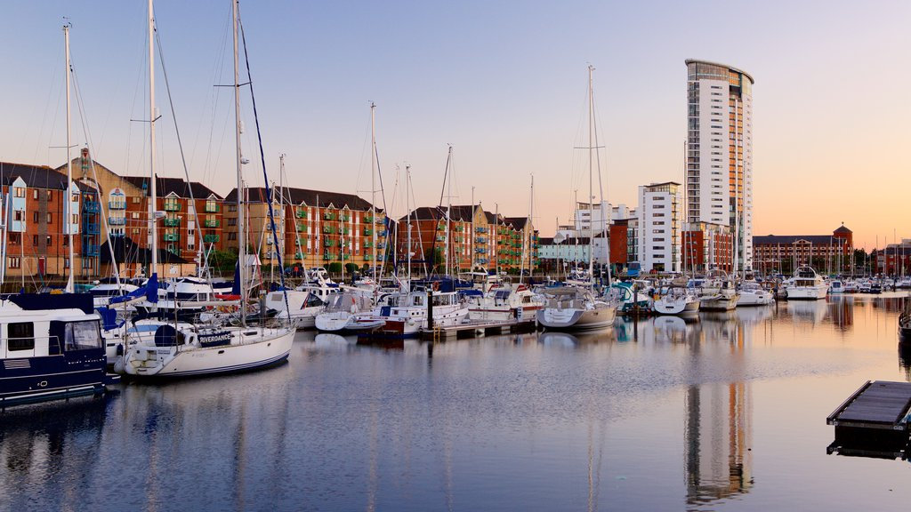 Swansea showing sailing, a sunset and a marina