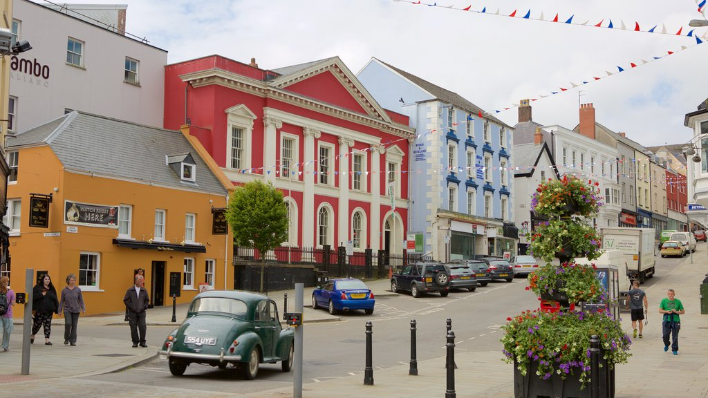 Haverfordwest showing street scenes as well as a large group of people
