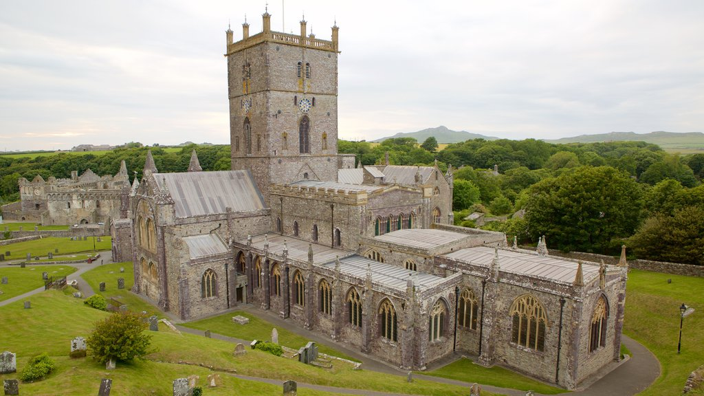 St Davids which includes a cemetery, a church or cathedral and heritage elements