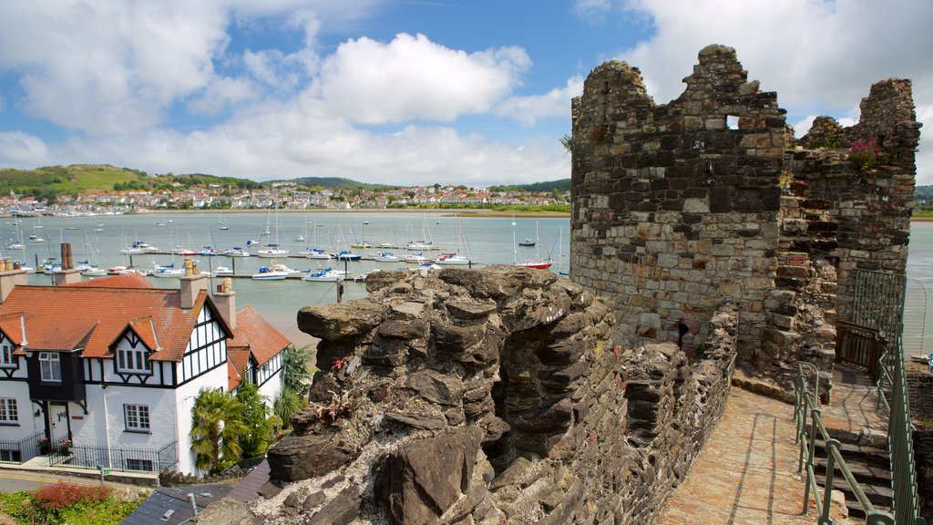 Conwy showing heritage elements, a small town or village and chateau or palace