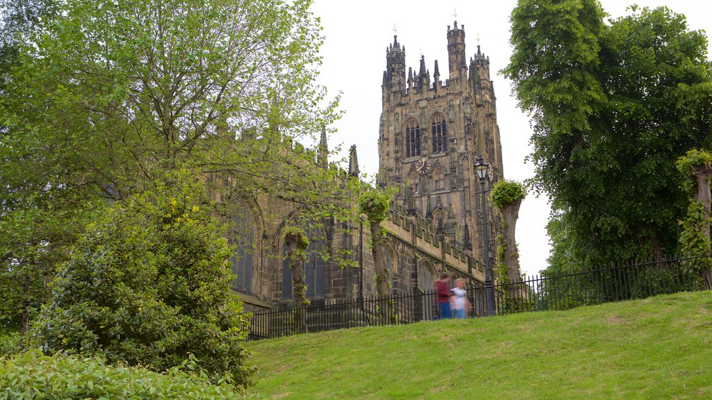 Wrexham featuring heritage elements and a church or cathedral
