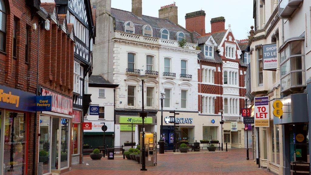Wrexham featuring street scenes