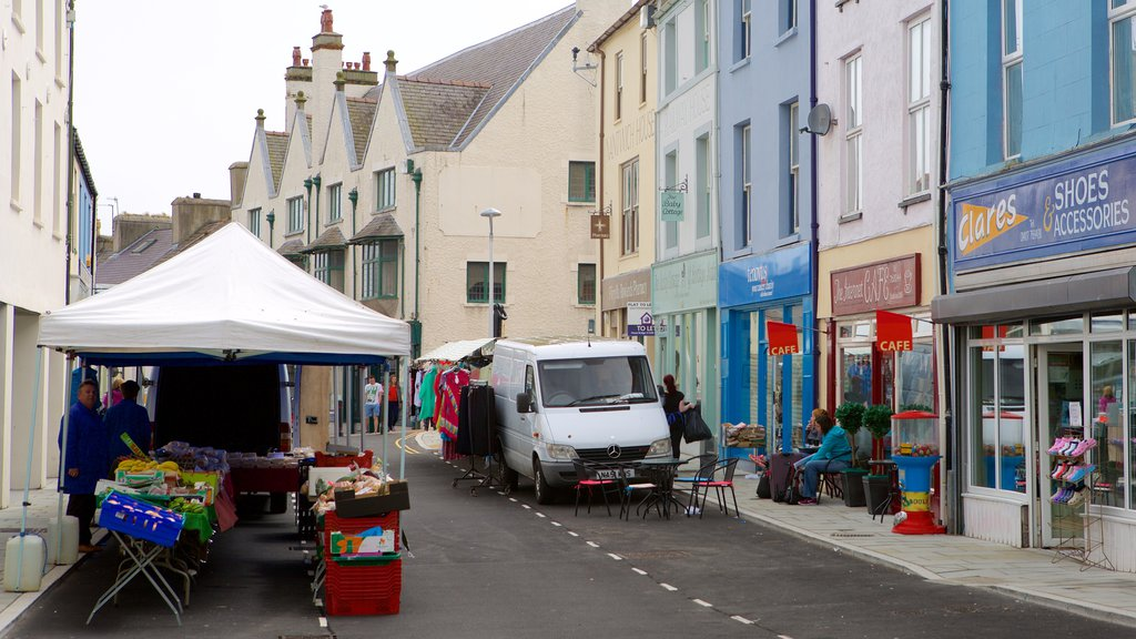 Holyhead featuring street scenes and markets