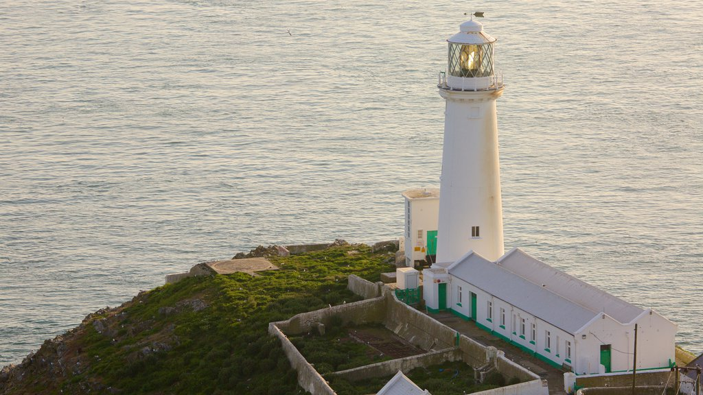 South Stack Lighthouse featuring a lighthouse and general coastal views