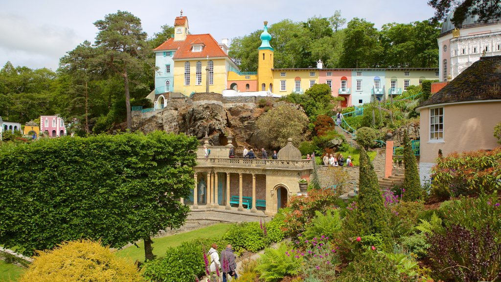 Portmeirion which includes a park and a small town or village