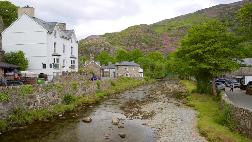 Beddgelert which includes a river or creek and a small town or village