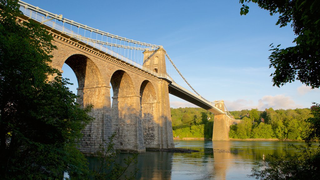 Menai Bridge which includes a bridge, a river or creek and heritage elements
