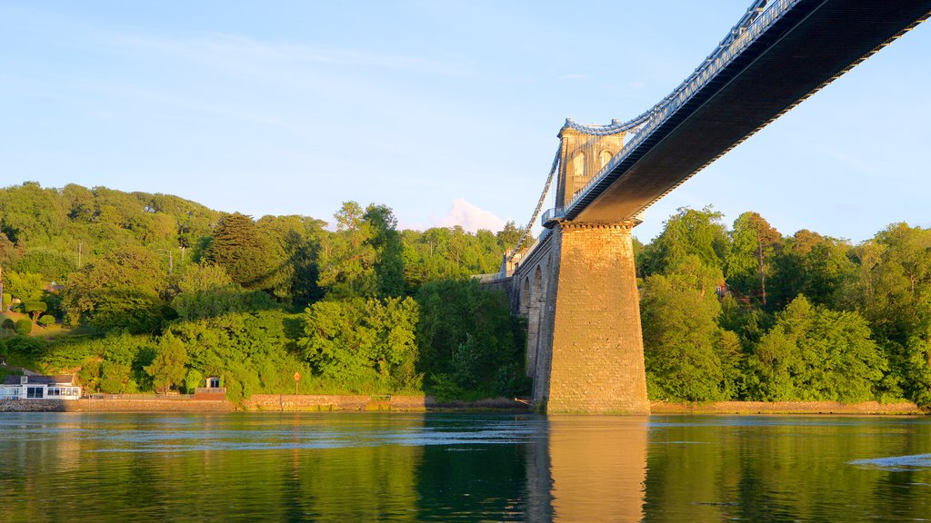 Menai Bridge which includes heritage elements, a river or creek and a bridge