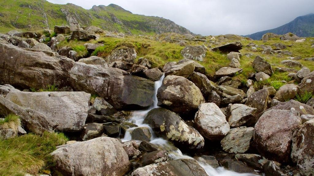 Parque Nacional de Snowdonia que incluye escenas tranquilas y una cascada