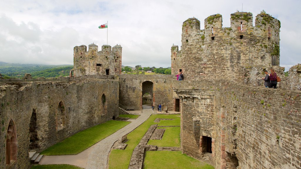 Conwy Castle showing a castle, building ruins and heritage elements