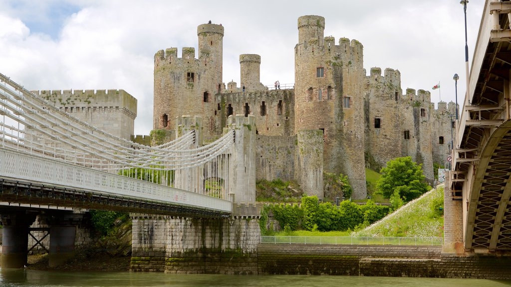 Conwy Castle featuring a castle, a river or creek and a bridge