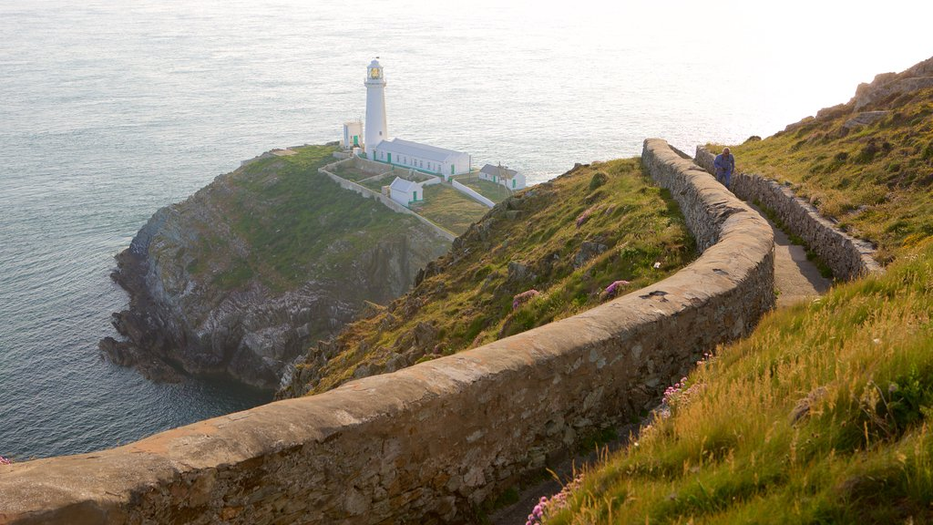 South Stack Lighthouse showing rugged coastline, hiking or walking and general coastal views