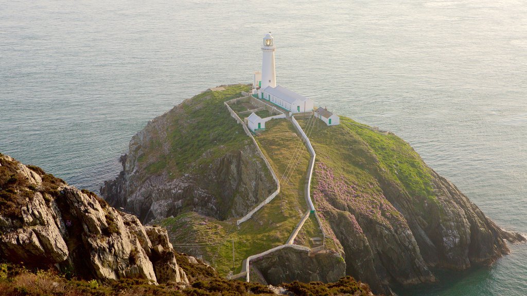 South Stack Lighthouse featuring a lighthouse, rocky coastline and general coastal views