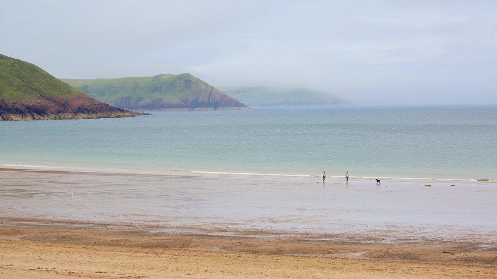Freshwater East Beach featuring a sandy beach
