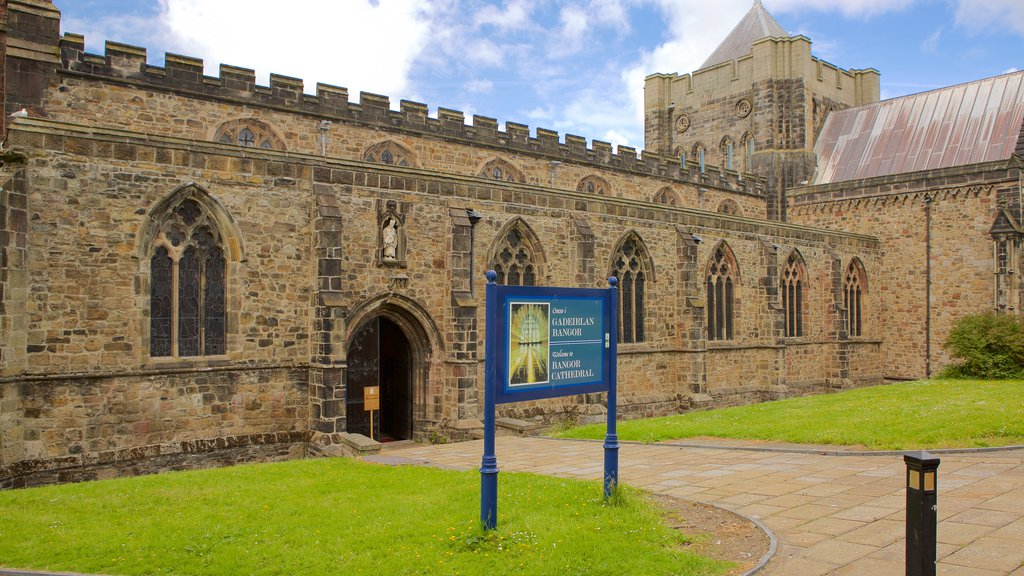 Bangor which includes a church or cathedral, heritage elements and religious aspects