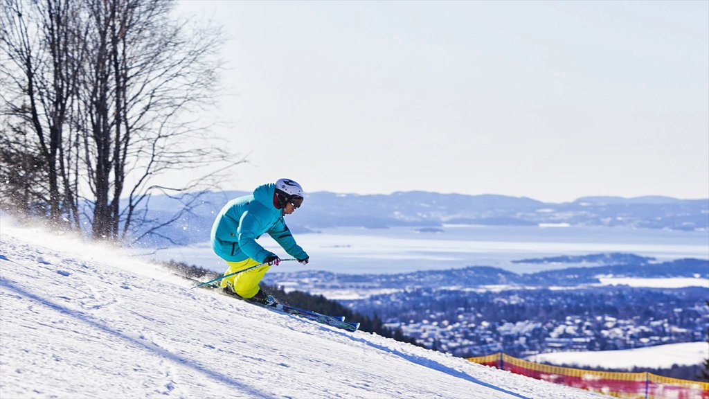 Oslo Winter Park showing snow and snow skiing as well as an individual male