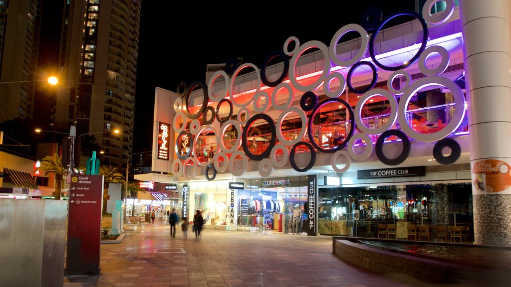 Cavill Avenue featuring night scenes, a city and shopping