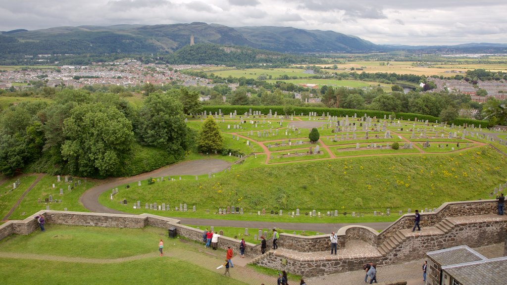 Stirling Castle featuring a cemetery and landscape views