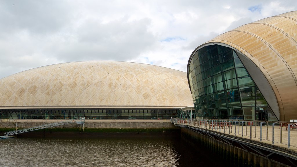 Glasgow Science Centre which includes a river or creek
