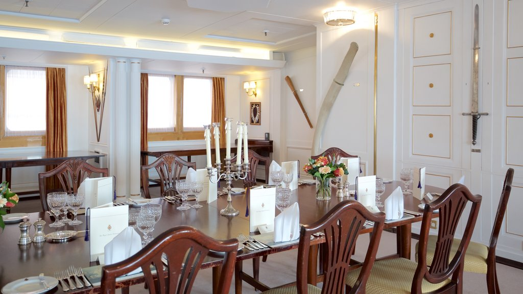 Royal Yacht Britannia which includes heritage elements, interior views and boating