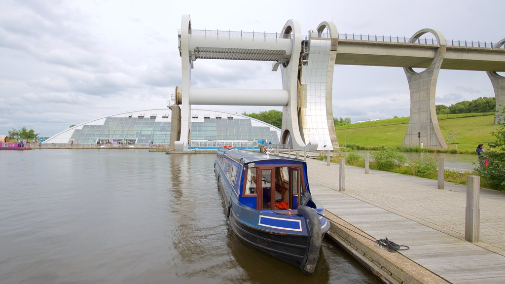 Falkirk Wheel featuring boating and a river or creek