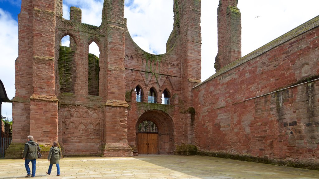 Arbroath Abbey which includes heritage architecture and heritage elements as well as a small group of people