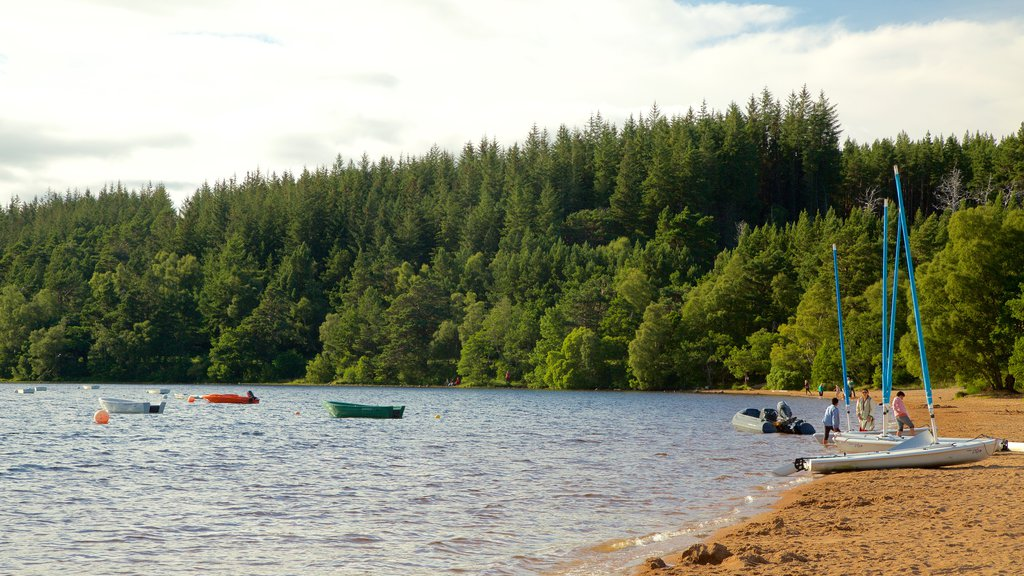 Loch Morlich which includes a lake or waterhole, forests and a sandy beach