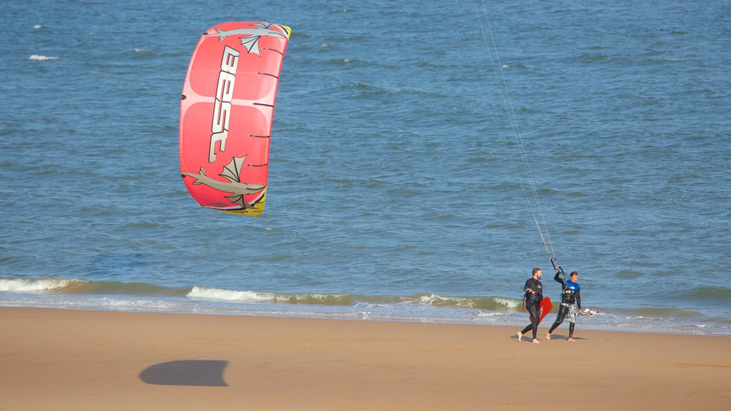 Balmedie Country Park showing a beach, general coastal views and kite surfing