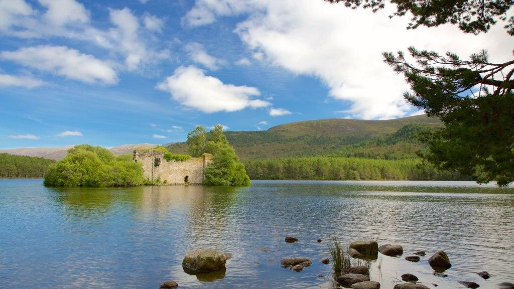 Loch an Eilein featuring island views and a lake or waterhole