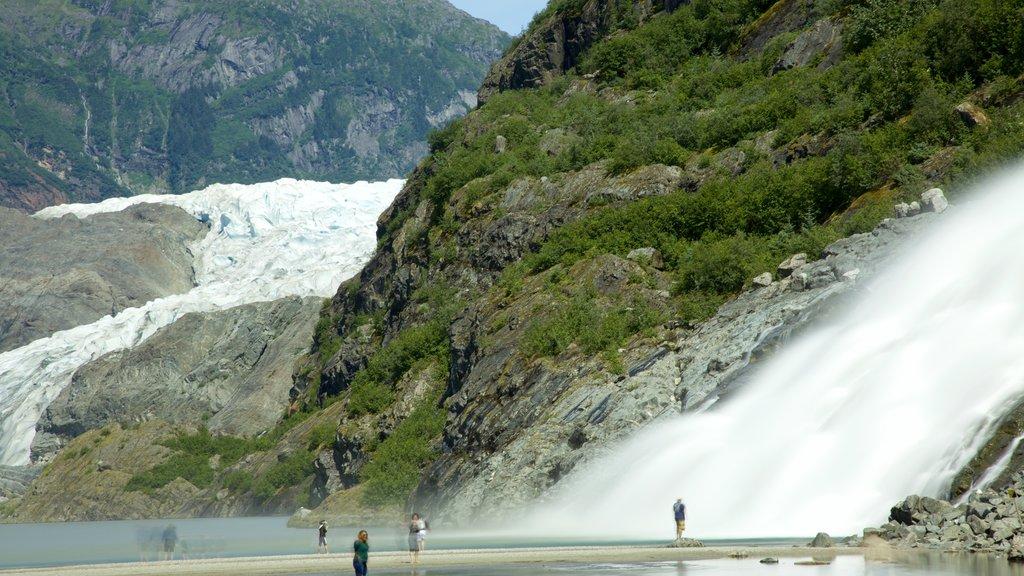 Mendenhall Glacier showing a cascade