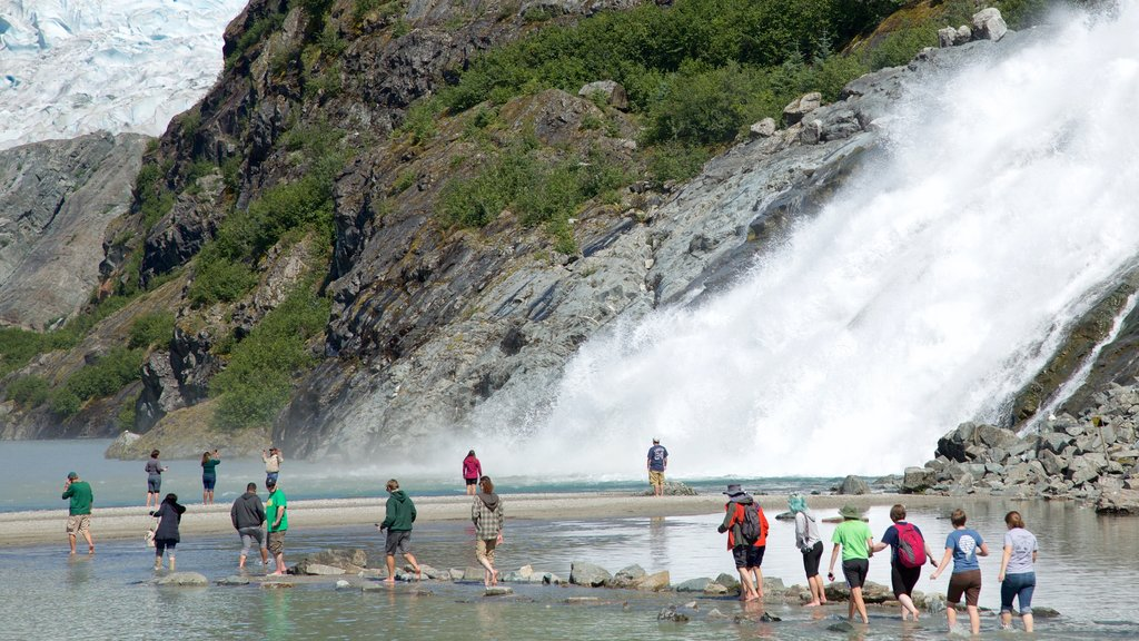 Mendenhall Glacier which includes a cascade as well as a large group of people