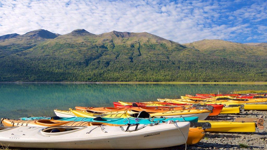 Eklutna Lake showing a lake or waterhole and kayaking or canoeing
