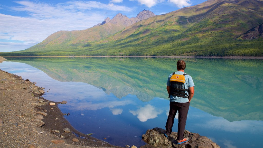 Eklutna Lake which includes a lake or waterhole as well as an individual male