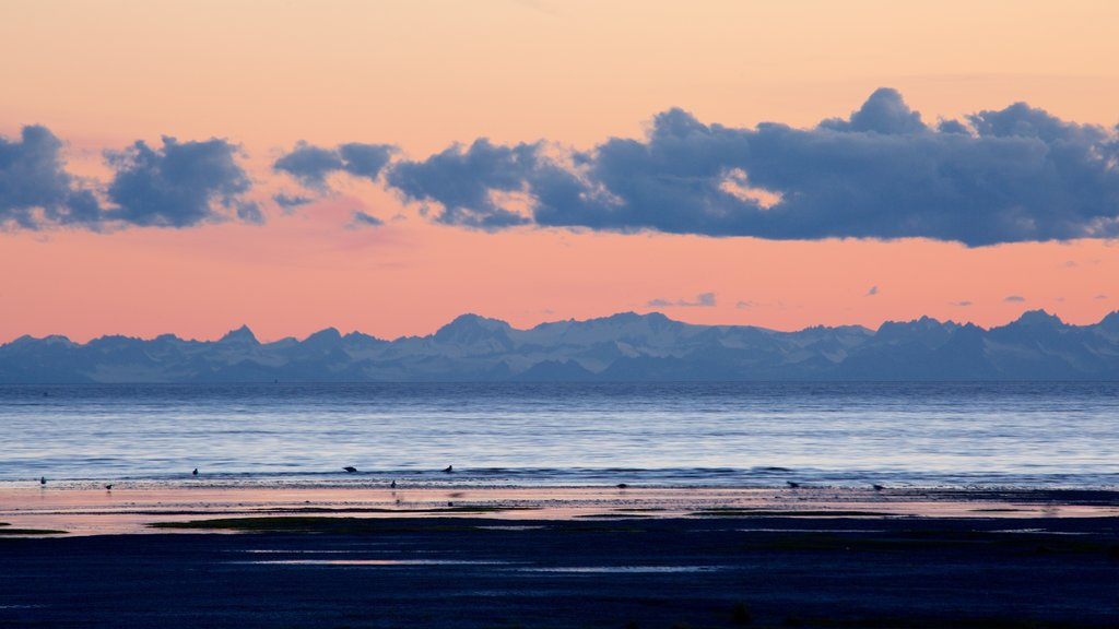 Anchorage which includes a sandy beach and a sunset
