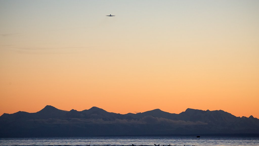 Anchorage showing a sunset