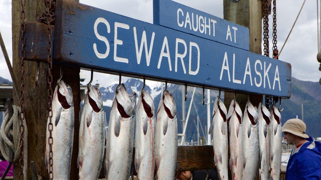 Seward featuring fishing and signage