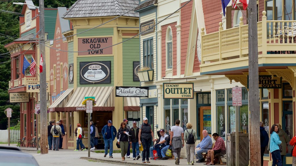 Skagway which includes a small town or village as well as a large group of people