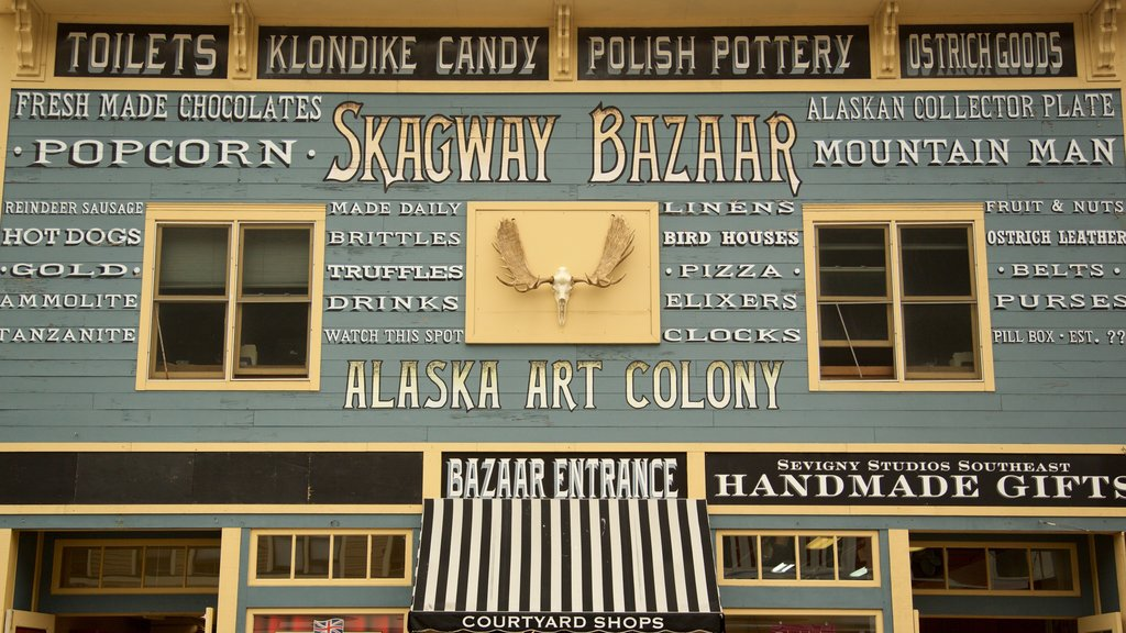 Skagway which includes signage